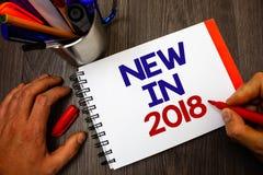 Représentation de signe des textes nouvelle en 2018 Fe prochain de marqueur de bloc-notes de porte-plume de Spéc. de produit nouv Images stock