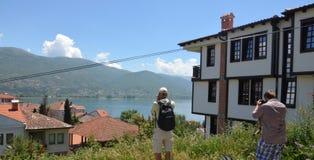 Représentation du lac Ohrid Images libres de droits