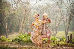 Représentations de pantomime en Thaïlande Image libre de droits