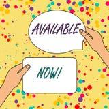 Repr?sentation de signe des textes disponible maintenant Photo conceptuelle vous pouvez la trouver pour obtenir ou fonctionnel ?  illustration stock