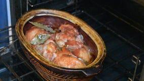 A repreensão da galinha no forno video estoque
