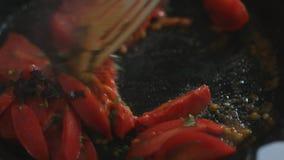 Repreensão dos tomates na bandeja video estoque
