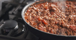 A repreensão triturou a carne com pasta de tomate em uma bandeja Fotografia de Stock Royalty Free