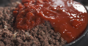 A repreensão triturou a carne com pasta de tomate em uma bandeja Fotos de Stock