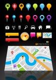 Repères d'emplacement de carte de GPS Photographie stock libre de droits