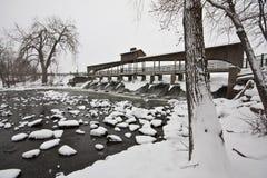 Represa de Hobart Indiana na queda de neve Fotografia de Stock