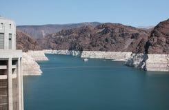 Represa de Hoover e central eléctrica EUA do hidromel do lago Foto de Stock