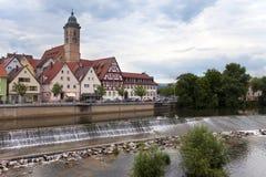 Represa no rio Neckar no Nurtingen em Alemanha do sul Foto de Stock Royalty Free
