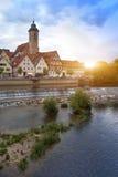 Represa no rio Neckar no Nurtingen em Alemanha do sul Imagem de Stock