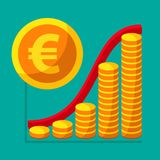 Represent of financial growth concept with the schedule of the s. Tacks of gold coins. Money flat icon, euro symbol. Vector illustration for web and commercial Stock Photography