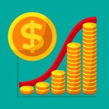 Represent of financial growth concept with the schedule of the s. Tacks of gold coins. Money flat icon, United States dollar symbol. Vector illustration for web Royalty Free Stock Images