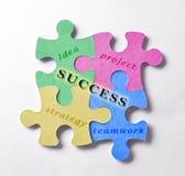 Representação com partes coloridas do enigma de sucesso comercial Imagem de Stock