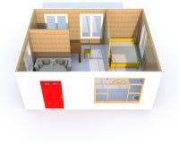 representación 3D de un pequeño hogar stock de ilustración