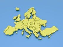 representación 3d de una correspondencia de Europa en amarillo Foto de archivo