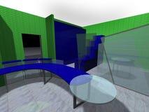 representación 3D de una oficina Fotografía de archivo