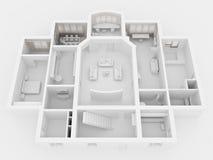 representación 3D del interior casero
