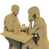 Representación abstracta de Art Plywood 3d de la gente Fotografía de archivo libre de regalías