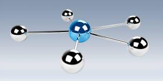 representación azul de la red 3D de las esferas 3D Foto de archivo libre de regalías