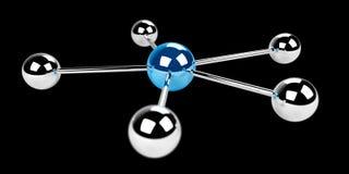 representación azul de la red 3D de las esferas 3D Fotos de archivo