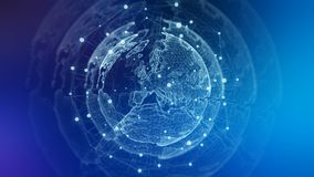Representación azul del fondo 3D de la red global libre illustration