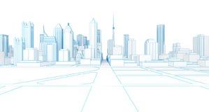 Representación blanca de la ciudad 3d del wireframe polivinílico bajo Imagen de archivo libre de regalías