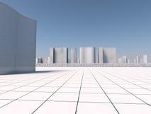 Representación blanca de los skyscapers 3d Imágenes de archivo libres de regalías