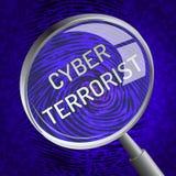 Representación cibernética de Extremism Hacking Alert 3d del terrorista ilustración del vector