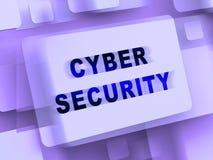 Representación cibernética de la salvaguardia 3d del sistema empresarial de la seguridad stock de ilustración