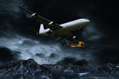Representación cinemática del aeroplano con el fuego de motor Fotografía de archivo