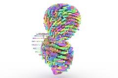 Representación colorida 3d Compuesto de esfera del carácter alfabético ilustración del vector