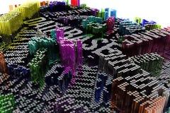Representación colorida 3d Decorativos, los ejemplos forman compositi stock de ilustración