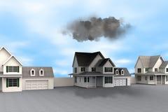 Representación conceptual de la mala suerte con las nubes oscuras sobre casa stock de ilustración