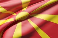representación 3d de agitar de la bandera de Macedonia Fotografía de archivo libre de regalías