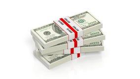 representación 3D de 100 dólares del billete de banco de pila de los paquetes stock de ilustración