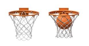 representación 3d de dos redes del baloncesto con los aros anaranjados, una vacía y una con una bola que cae dentro fotos de archivo