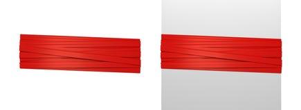 representación 3d de dos tiras rojas anchas de cinta del regalo atadas alrededor de un poste blanco y alrededor de espacio vacío stock de ilustración