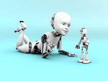 representación 3D de jugar del niño del robot Fotos de archivo libres de regalías