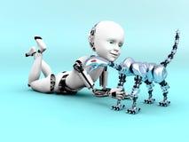 representación 3D de jugar del niño del robot Fotografía de archivo