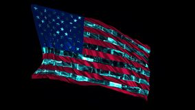 representación 3d de la bandera americana hecha en estilo cibernético La bandera se convierte suavemente en el viento stock de ilustración