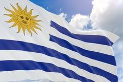 representación 3D de la bandera de Uruguay que agita en fondo del cielo azul ilustración del vector