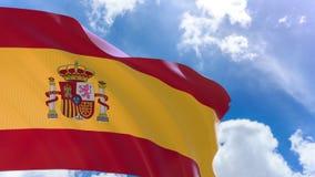 representación 3D de la bandera de España que agita en fondo del cielo azul con el canal alfa