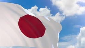 representación 3D de la bandera de Japón que agita en fondo del cielo azul con el canal alfa stock de ilustración