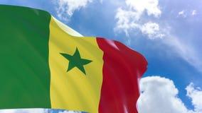 representación 3D de la bandera de Senegal que agita en fondo del cielo azul con el canal alfa ilustración del vector