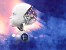 representación 3D de la cabeza del robot del niño con el fondo del espacio Fotografía de archivo