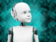 representación 3D de la cabeza del robot del niño con el fondo del espacio Imágenes de archivo libres de regalías