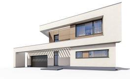 representación 3d de la casa acogedora moderna Fotografía de archivo