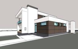 representación 3d de la casa acogedora moderna Foto de archivo