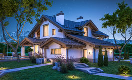 representación 3d de la casa acogedora moderna en estilo del chalet Fotografía de archivo libre de regalías