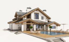representación 3d de la casa acogedora moderna en estilo del chalet Fotografía de archivo