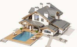 representación 3d de la casa acogedora moderna en estilo del chalet Imagen de archivo libre de regalías